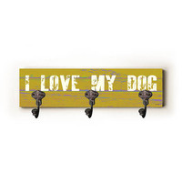 I Love My Dog by Artist Lisa Weedn Decorative Leash Hanger