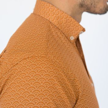 Soft Orange Wave Print Short Sleeve Shirt - MELVIN