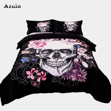 Cool 3pcs/lot Sugar Skull Print Queen Comforter Sets King Size Bedding Set Twin Size Luxury 3d Bed Quilt Cover Duvet Cover Sheets SetAT_93_12