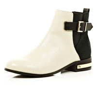 White two-tone buckle chelsea boots - ankle boots - shoes / boots - women