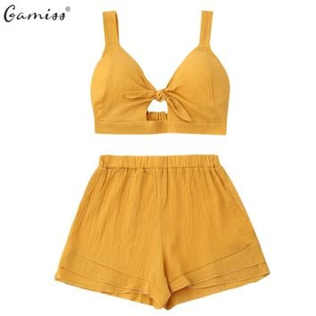 Gamiss Women Sets Two Piece Cut Out Crop Top With High Elastic Waist Shorts Set Sexy V Neck Women Summer Beach Top+Shorts