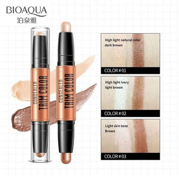 BIOAQUA Concealer Double Head 3D Highlighter Stick Face Makeup Foundation Stick Cream Texture Contour Pencil