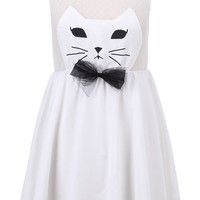 ROMWE | Cat Face White Dress, The Latest Street Fashion