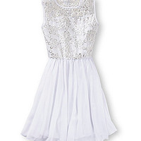 GB Girls 4-6X Foil Lace Dress - White
