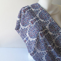 Blue White Infinity Scarf, Floral Chiffon Scarf, Tulip Scarf, Women Circle Scarf, Spring Summer Fashion, Women Accessories, Gift for Her