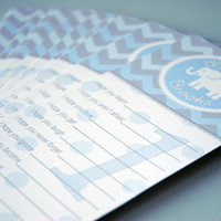 Wishes for Baby Boy Baby Shower or 1st Birthday for Boy, Blue Chevron + Baby Elephant, Circus Theme, 30 Cards