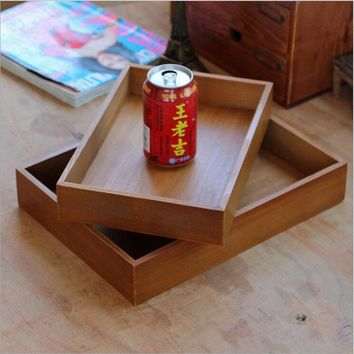 Retro Wooden Bamboo Storage Boxes & Bins Sundries Storage Tray Wood Crafts Gift Box Home Office Garden Decorative Storage Holder