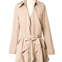 Lacy Ruffle Belted Trench coat by Chic+ Beige