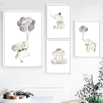 Watercolor Elephant balloon Wall Art Canvas Painting Nordic Posters And Prints Decoration Pictures Baby Girl Boy Room Wall Decor