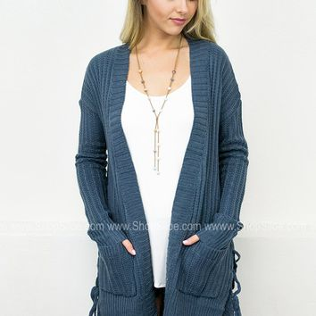 Lace Up Knit Cardigan | Teal
