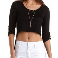 Black Cropped Extreme High-Low Tee by Charlotte Russe