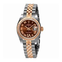 Rolex Lady Datejust 26 Chocolate Brown Dial Stainless Steel and 18K Everose Gold Rolex Jubilee Automatic Watch 179171CHRDJ