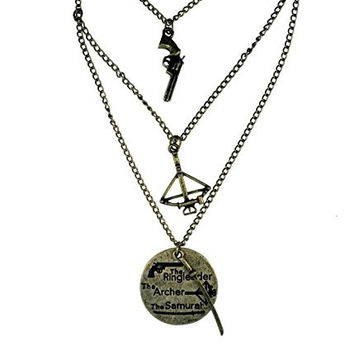 Walking Dead Triple Layer Crossbow, Sword, Pistol Necklace Set Jewelry