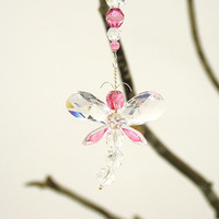 Pink Nursery Idea Mothers Day Gift Baby Shower Gift Dragonfly Swarovski Crystal Suncatcher Car Charm Rear View Mirror Charm Car Accessories