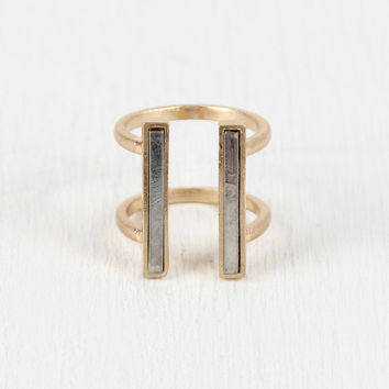 Two Tone Double Bar Ring