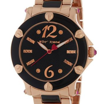 DCCKHB3 Betsey Johnson | Women's Two-Tone Crystal Accented Bracelet Watch