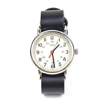 LEATHER WATCH STRAP - HORWEEN CHROMEXCEL BLACK