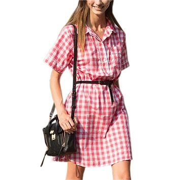 Summer Shirts Dress Women Red Plaid Dresses 2018 Turn-down Collar Short Sleeve Casual Office Dress Robe No Belt K001