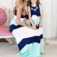 Spring and Summer Matthew Hits Blue Knitted Big Stripes Stitching Women's Dresses Parents and Children's Dresses