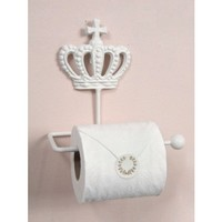 Bella White Cast Iron French Crown Toilet Paper Roll Holder - Shop By Brand