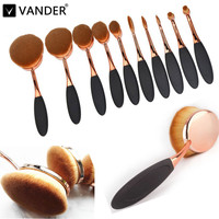 10PCS Toothbrush Shape Elite Oval Makeup Brushes Set Rose Gold Foundation Contour Eyebrow Cream Puff