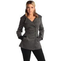 Alpine Swiss Emma Women's Gray Wool 3/4 Length Double Breasted Peacoat Small