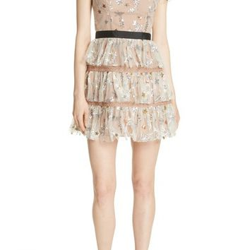 Self-Portrait Sequin Mesh Tiered Dress | Nordstrom