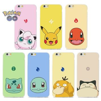 Pokemon PokeBall Cartoon Phone Case For iPhone 5/5s/6/6S/6 Plus/7/7 Plus Edge Lovely Poke Ball Silica gel Cover case