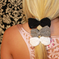 Set of 3 Crochet Bow Hair Tie Elastics