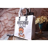 MOSCHINO WOMEN'S CANVAS CAPSULE SHOULDER BAG TOTE BAG