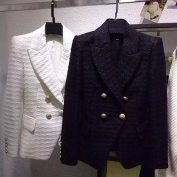 Winter New High End Cow Goods Ode To Gianna Jun With Waist Shoulder Shrug Double Breasted Jacket