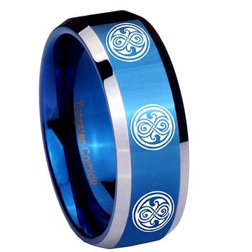 8MM Shiny Blue Multiple Doctor Who Bevel Edges 2 Tone Tungsten Laser Engraved Ring