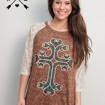 Tina's Cross with Turquoise Leopard on Brown Shirt with White Lace Sleeves