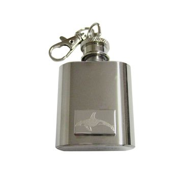 Silver Toned Etched Swimming Killer Whale Orca 1 Oz. Stainless Steel Key Chain Flask