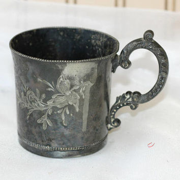 Antique Baby Cup Victorian Era Quadruple Silver Plate | Wm A Rogers New York #23 | Silver Baby Cup Ornate with Etched Floral Design Tarnish