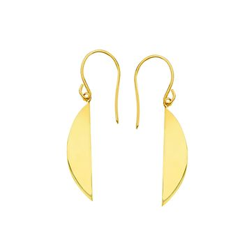 14K Yellow Gold Shiny Drop Half Oval Circle Earrings
