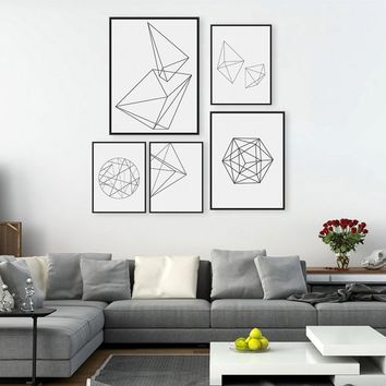 Minimalist Black White Geometric Shape Canvas Art Prints Poster Abstract Wall Picture Canvas Painting