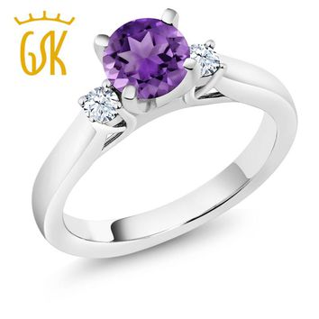 GemStoneKing 0.92 Ct Round Purple Amethyst 925 Sterling Silver 3Stone Ring Ladies Romantic Anniversary Ring Natural Crystal Ring