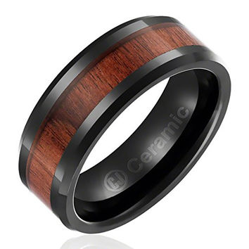 8MM Jewelry Grade Black Ceramic Black Engagement Ring with Dark Wood Inlay