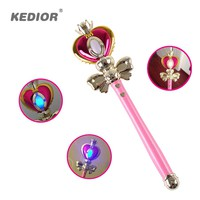 2017 New Girl Toys Anime Cosplay Sailor Moon Wand Henshin Rod Glow Stick Spiral Heart Moon Rod Musical Magic Wand