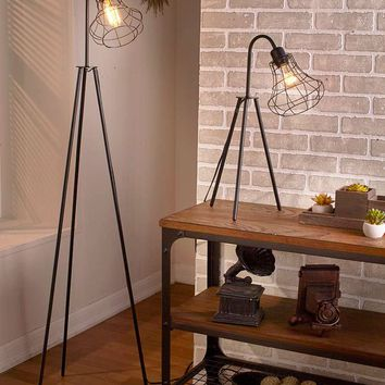 Industrial Style Lamp Caged Tripod Floor & Table Lamps Vintage Metal Black