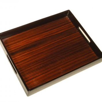 Rosewood Inlay with Brown Lacquer  Breakfast Tray 14 x 22