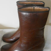 Womens Brown Sherpa Lined Rubber Galoshes Wellies Snow Rain Winter Boots Sz 8