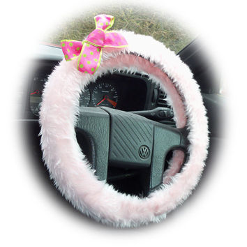 Baby Pink steering wheel cover faux furry fur fluffy fuzzy car with spotty barbie pink & lime green polka dot Bow cerise cute girly girl