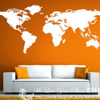 World Map Wall Art Vinyl Decal Stickers Home Decor Removable Mural 48 x 60 HUGE!