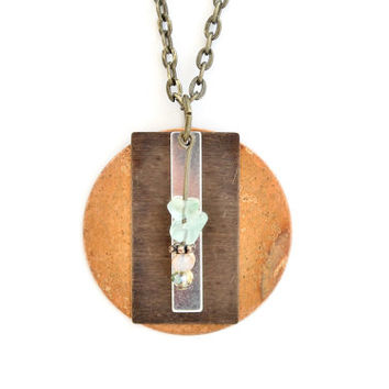 Boho Jewelry Mixed Metal and Stone Statement Necklace, Brass, Copper, Silver Plated with Mint Green Fluorite Chips