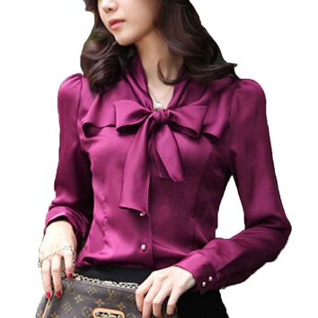 2017 Quality Silky Blouse Shirt Fashion Cheap Clothes China Office Female Clothing Roupas Blusas Feminina Ladies Women Tops Tee