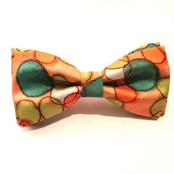 Multicolored Bow Tie with Pink Background and Orange and Green Pattern, Man Bow Tie, Bow Tie