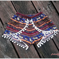 Pom Pom Shorts Boho Hobo Beach Hippie Elephant Hipster Rayon Dot Trimming Paisley Clothing Aztec Ethnic Ikat Sleepwear Underwear Trim