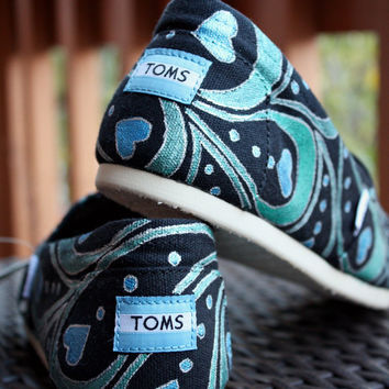 Youth - Blue Green Abstract Peacock Feather Custom TOMS